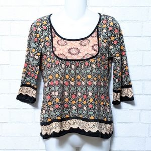 Anthropologie Guinevere Floral Lace Sweater Top M